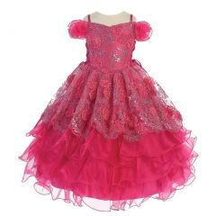Angels Garment Little Girls Fuchsia Mesh Organza Ruffle Pageant Dress 2-6