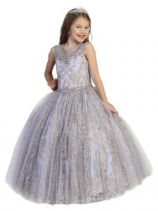 Little Girls Lilac Illusion Neckline Open Back Ball Gown Pageant Dress 2-6