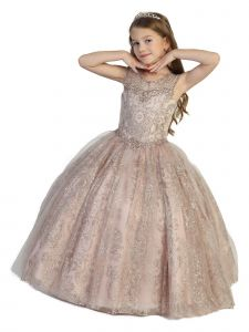 Girls Multi Color Illusion Neckline Open Back Ball Gown Pageant Dress 2-12