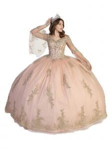 Angels Garment Women Multi Color Crystal Lace Bell Sleeve Ball Gown Dress 4-16