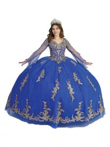 Angels Garment Women Royal Blue Crystal Lace Bell Sleeve Ball Gown Dress 4-16