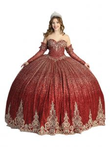 Angels Garment Women Burgundy Sparkly Crystal Lace Gloves Ball Gown Dress 4-16