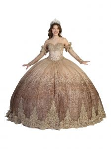 Angels Garment Women Rose Gold Sparkly Crystal Lace Gloves Ball Gown Dress 4-16
