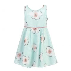 Angels Garment Little Girls Organza Checkered Floral Print Easter Spring Dress 2T-6