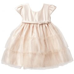 Sweet Kids Gold Satin Tier Christmas Holiday Dress Girl 12