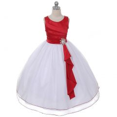 Chic Baby Red Layered Brooch Flower Girl Dress Little Girls 4-12