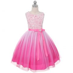 Kids Dream Big Girls Fuchsia Ombre Rosette Special Occasion Dress 12