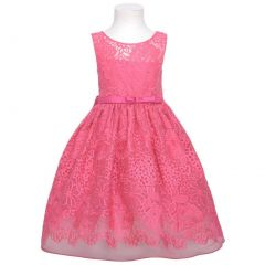 Sweet Kids Fuchsia Embroider Lace Overlay Easter Dress Girl 4-12