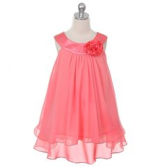 Kids Dream Little Girls Coral Chiffon Special Occasion Dress 6-14
