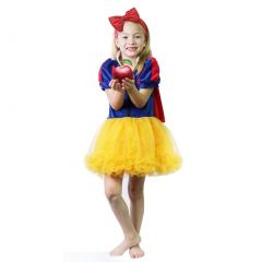 Calla Collection Girls Gold Blue Puff Sleeve Cape Halloween Dress 1-8Y