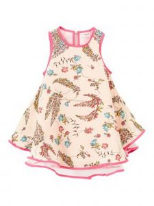 Wenchoice Baby Girls Coral Leaves Flower Print Swing Sleeveless Dress 9M-8