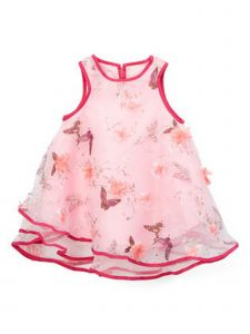 Wenchoice Girls Pink Chiffon 3-D Butterfly Flower Swing Sleeveless Dress 9-8