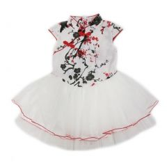 Wenchoice Little Girls Red White Plum Flower Cotton Tulle Cheongsam Dress 24M-8