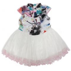 Wenchoice Little Girls Pink White Printing Silk Tulle Cheongsam Dress 24M-8
