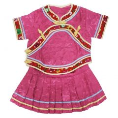 Wenchoice Little Girls Pink Chinese Retro Style 2 Piece Blouse Skirt Set 12M-8
