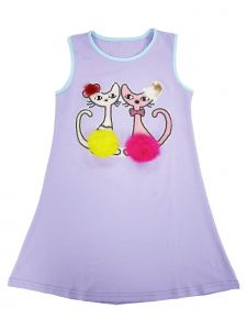 Wenchoice Girls Lavender Sequins Pompom Couple Cats Cotton Dress 9M-8