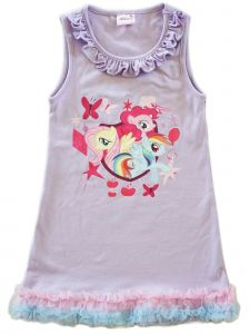Wenchoice Girls Lavender My Little Pony Print Ruffle Cotton Dress 9M-8