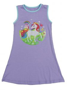 Wenchoice Girls Lavender Multi Rainbow Unicorn Print Cotton Dress 9M-8