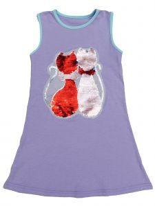 Wenchoice Girls Lavender Reversible Sequins Dual Cat Cotton Dress 24M-10