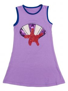 Wenchoice Girls Purple Sequined Starfish Shield Applique Cotton Dress 9M-8