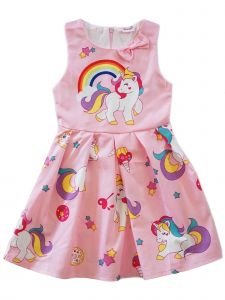 Wenchoice Girls Pink Rainbow Unicorn Print A-Line Cotton Dress 9M-8