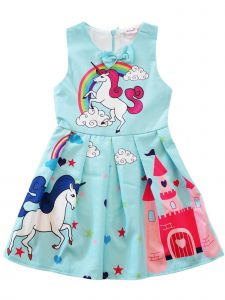 Wenchoice Girls Blue Rainbow Unicorn Print Bow A-Line Cotton Dress 9M-8