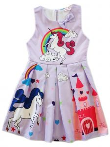 Wenchoice Girls Lavender Rainbow Unicorn Print Bow A-Line Cotton Dress 9M-8