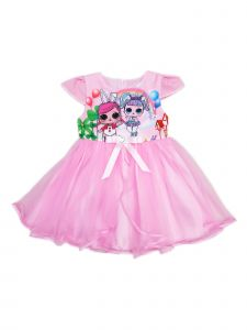 Wenchoice Girls Pink Cap Sleeve Apron Skirt LOL Tulle Dress 24M-10