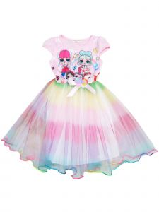 Wenchoice Girls Pink LOL Short Sleeve Satin Bow Rainbow Tulle Dress 12M-8