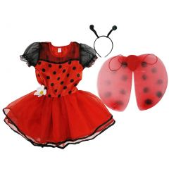 Wenchoice Girls Red Lady Bug Dot Wings Antennae Dress Set S (4-6)-L (10-12)