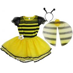Wenchoice Girls Yellow Bumble Bee Wings Antennae Dress Set S (4-6)-L (10-12)
