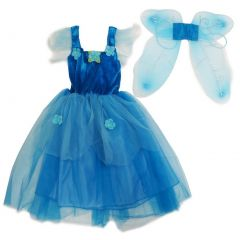 Wenchoice Girls Blue Pixie Fairy Dress Wings Halloween Set S (4-6)-L (10-12)