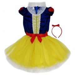 Wenchoice Girls Yellow Snow White Bow Headband Dress Set S (4-6)-L (10-12)