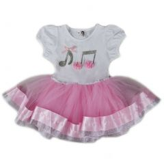 Wenchoice Girls Pink White Silver Music Notes Birthday Dress S (9-24M)-XL (6-8)