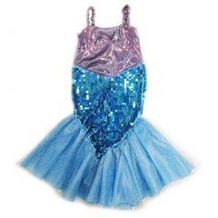 Wenchoice Girls Purple Blue Sequin Halloween Mermaid Dress S (4-6)-L (10-12)