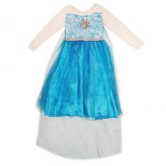 Wenchoice Girls Blue Glitter Princess Elsa Halloween Dress S (4-6)-L (10-12)