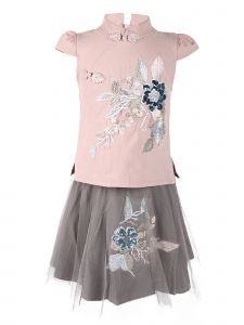Wenchoice Girls Pink Gray Embroidery 2 Pieces Cotton Dress 24M-10