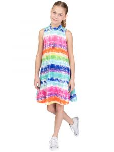 Bonnie Jean Big Girls Multicolor Sleeveless Mock Neck Necklace Dress 7-16