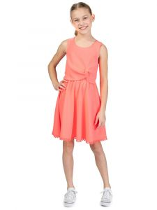 Bonnie Jean Big Girls Pink Sleeveless Knotted Side Venise Dress 7-16