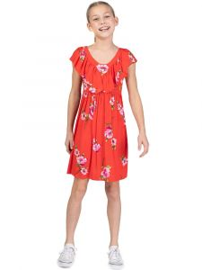 Bonnie Jean Little Girls Red Ruffled Deep Vee Bubble Crepe Sundress 4-6X