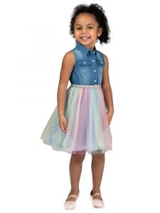Bonnie Jean Little Girls Denim Sleeveless Shirt Belt Rainbow Tulle Dress 2T-6X