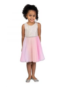 Bonnie Jean Big Girls Pink Sparkly Trim Ombre Pleated Dress 7-16
