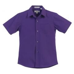 Gioberti Big Boys Dark Purple Solid Color Button Down Short Sleeved Shirt 8-18