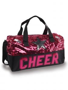Danshuz Black Fuchsia Sequin Cheer Star Duffel Bag Purse
