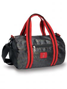 Danshuz Black Red Punch Hole Glitter Gymnastic Duffle Bag Purse