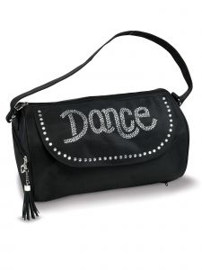 Danshuz Black Silver Rhinestone Dance Duffel Bag Purse