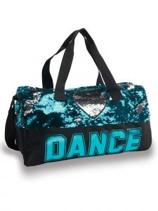 Danshuz Black Turquoise Sequin Dance Heart Bag Purse