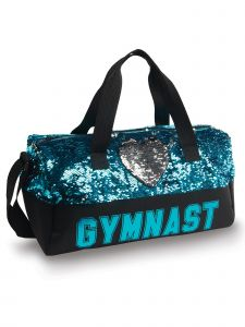 Danshuz Black Turquoise Sequin Gymnast Heart Duffel Bag Purse