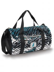 Danshuz Black Turquoise Zebra Sequin Duffle Backpack