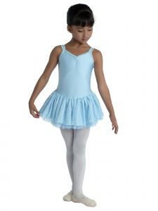 Danshuz Little Girls Light Blue Camisole Macrame Back Dance Dress 2-6